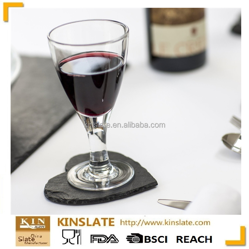Table decoration Christmas gift sweet heart Slate stone red wine coaster wholesale