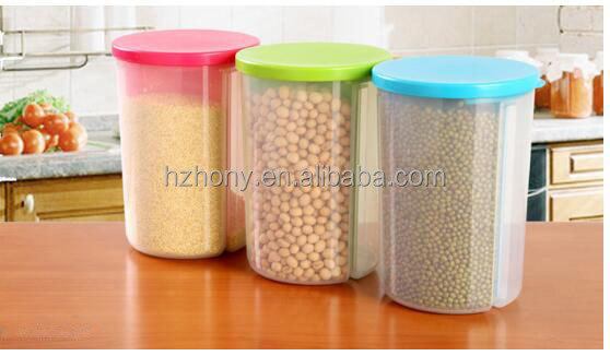 Kitchen Plastic Dry Food Dispenser Box Cereal Nuts Rice Beans Storage Container with Colorful Lid