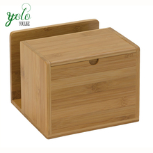 Wood Bamboo Organization Recipe Box with tissue paper holder