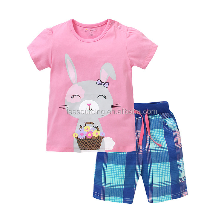 Wholesale baby girl clothes tee with shorts 2 pieces set children clothing 2017