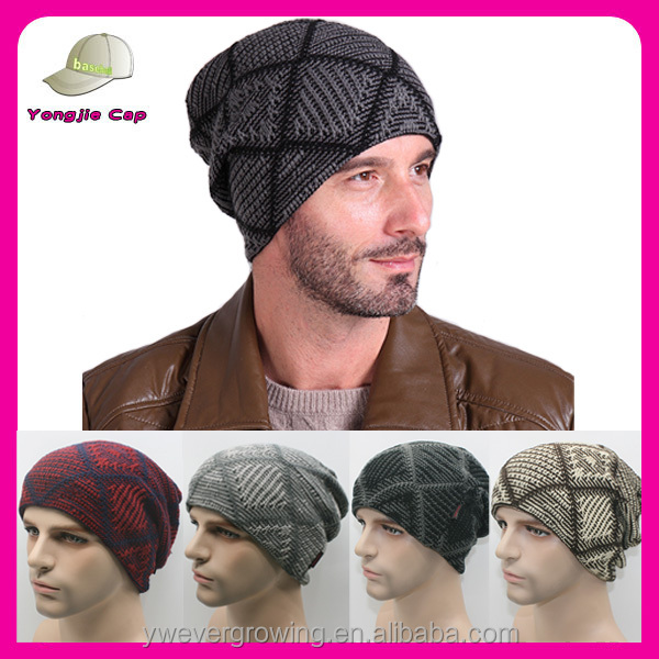 New Hot Winter Beanies Men Warm Grid Skiing Beanie Skull Knitted Beanie Hat with Velvet Inside