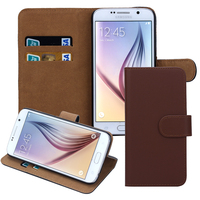 Book style stand flip leather cover case for S6