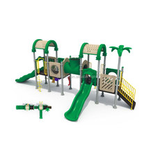 China Manufacturer Large Size Green Durable Promotional Outdoor Plastic Kids Playground Set Design Slide