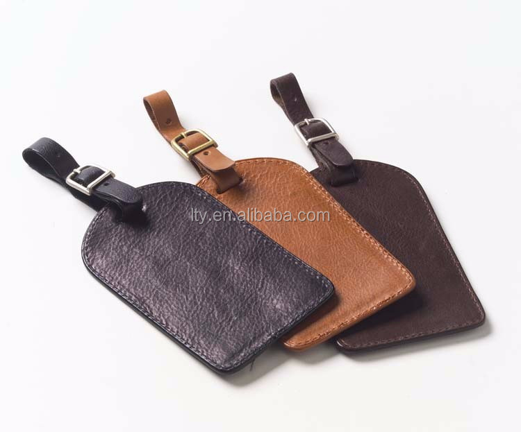 customized PU leather luggage tag with embossed logo (PT-163)