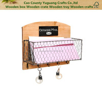 Country Rustic Wood & Metal Wire Wall Mounted Mail Sorter Hanging Storage Rack w Key Hooks, Chalkboard