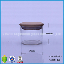 high borosilicate glass short candle jar with wooden lid candle holder