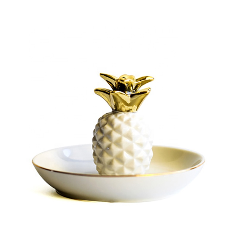 Wholesale Pineapple Shaped Trinket Jewelry Tray Display Rings Holder Ceramic Dishes