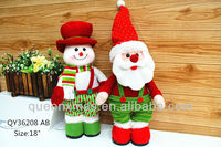 "18 "" red and green standing fabric Christmas santa & snowman decoration"