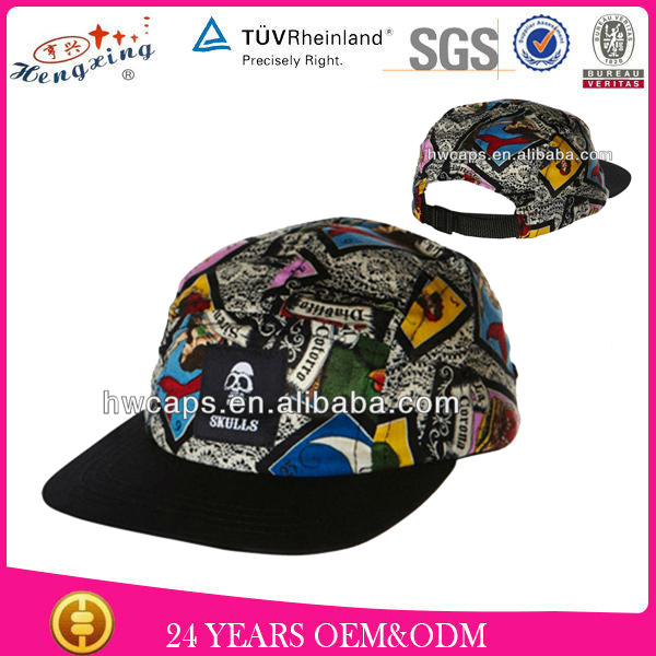 Fashion Leather Strap Design Your Own Nylon 5 Panel Hats