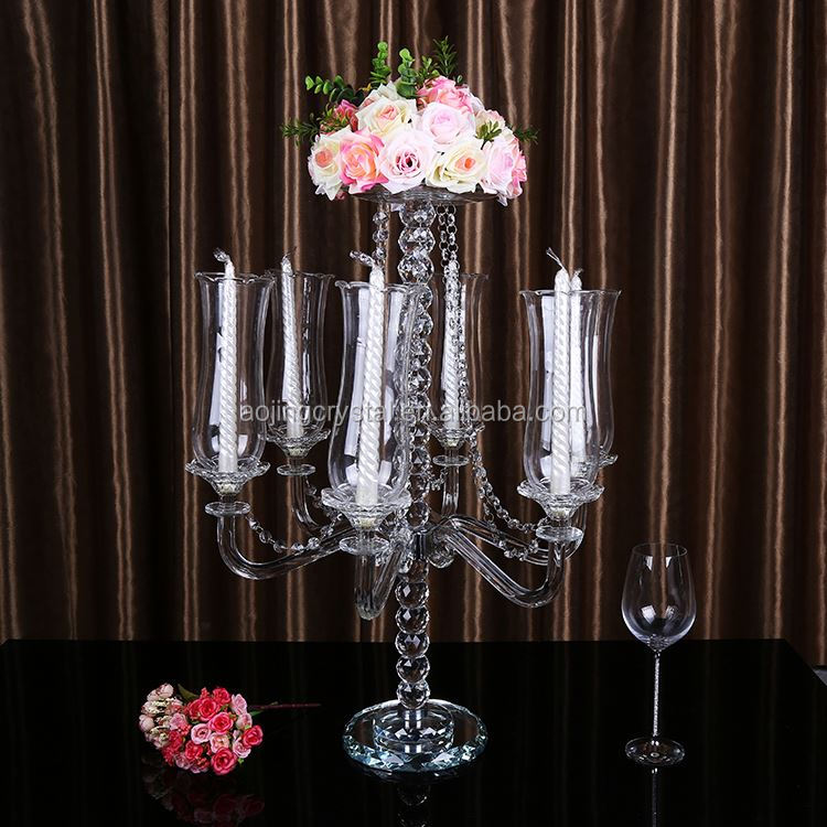 Latest arrival fashionable elegant clear crystal candelabra for wedding for wholesale