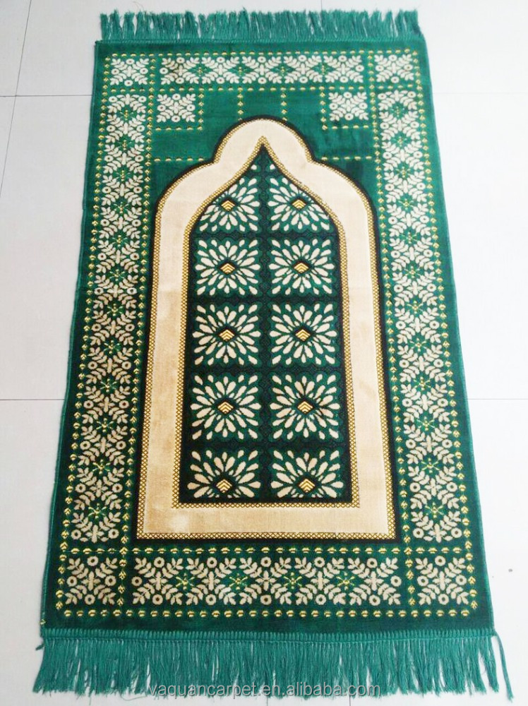 Good quality Muslim islamic Prayer rug Portable Travel custom prayer carpet