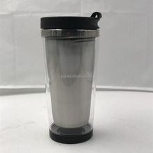Hot PG-Y005 clear plastic tank photo insert travel mugs water bottle double wall plastic mug