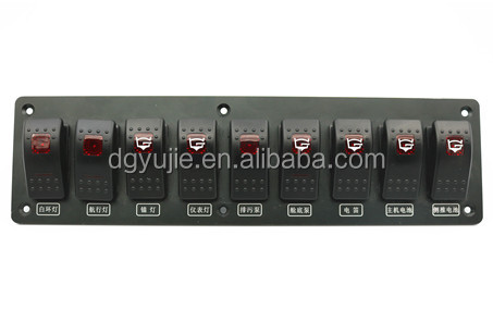 SPLASHPROOF SWITCH PANEL WITH LED INDICATOR ROCKER