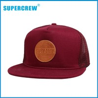 Leather Pathch 5 Panel Wholesale Custom Sanpback Sublimation Caps