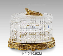 Elegant Style Crystal Jewelry Box/ Gift Box With Brass Base 24K Gold Plated Home Art Decorated Item Clear and Gold