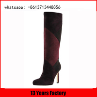 made in china high quality tube girls boots more color upper inside half matel zipper 7cm high heel sexy long boots