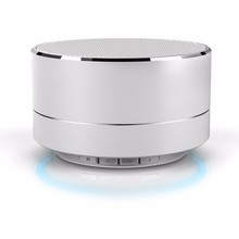hot selling metal round mini portable wireless speaker with LED light