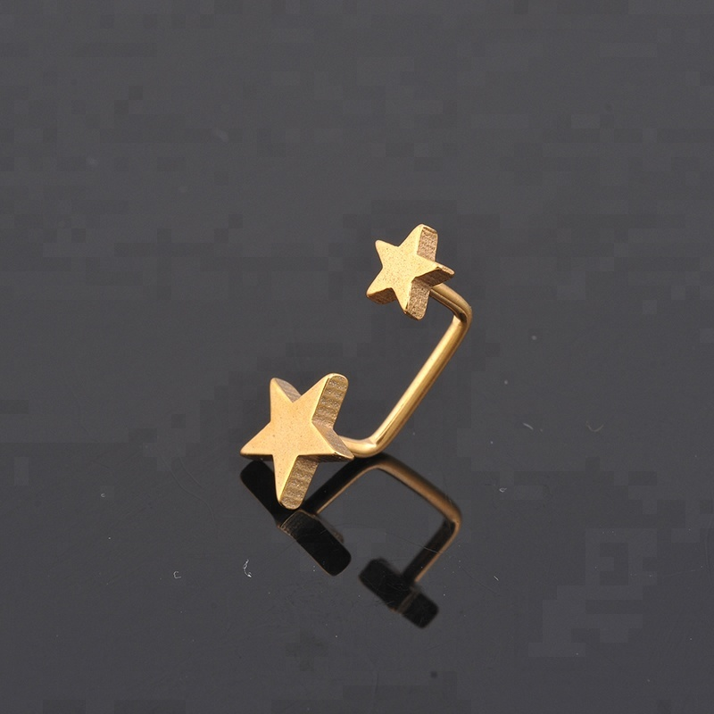 Star Design PVD Gold Nipple Ring Piercing Jewelry