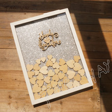 Custom Personalised Heart Wood Frame wedding guest book alternative