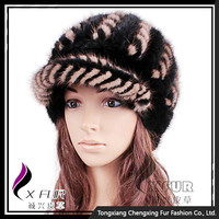 CX-C-126B Double Colors Knitted Real Mink Fur Fashion Caps