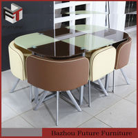 modern hotsale 6 seaters oval-shaped glass dining table