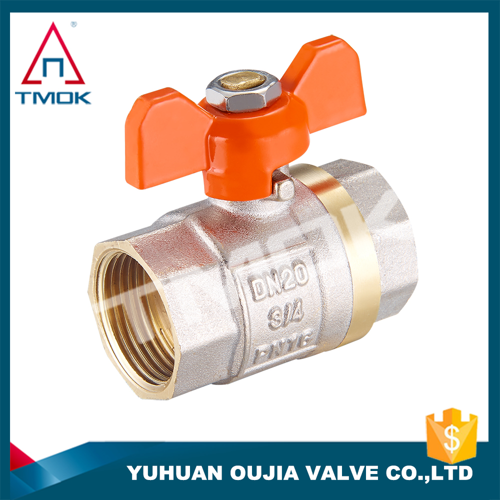 TMOK TK-5005 double fusion Female brass ball valve BSP with Aluminum Handle CW617 600WOG threaded brass ball valve