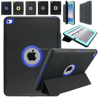 Heavy Duty Military Shockproof Dustproof Hybrid Armor Hard Stand Case for iPad2/3/4 Leather Cover with Auto Wake/Sleep Function