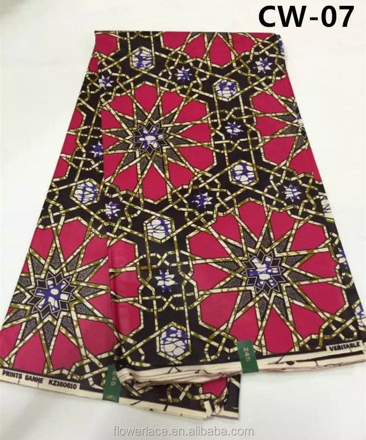 high quality real wax hollandais with stone fabric African block printed wax CW-07