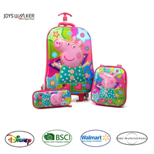 New product EVA 3D design Pig kids 3-pc set traveling/school bag/case/trolley case pencilcase backpack