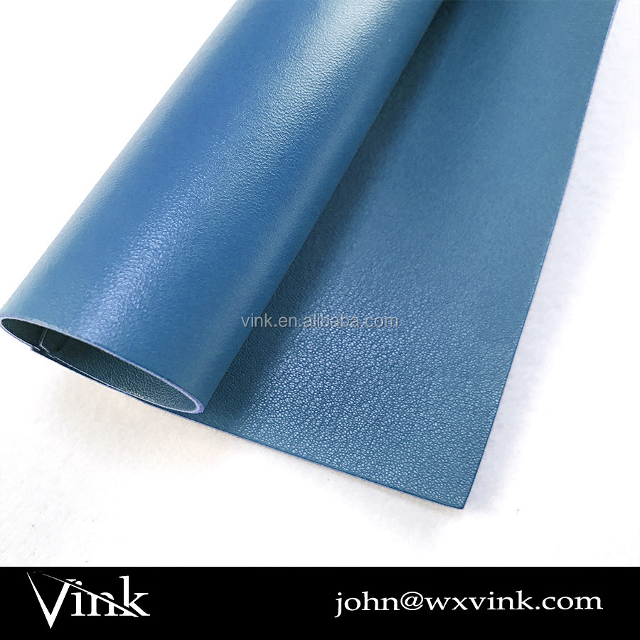 2017 blue pvc rexine pu leather material for bag