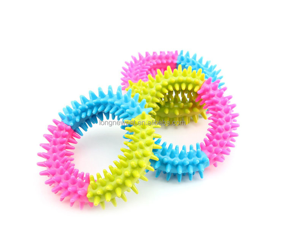 Colorful Rubber TPR Spiky Ring Dog Chew Toys for Sale