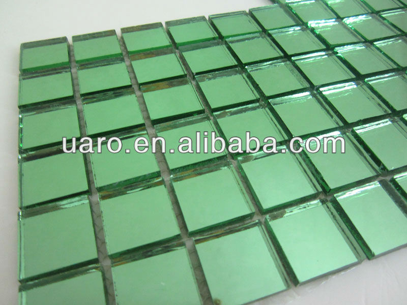 Self Adhesive Light Green Mirror Decor Glass Mosaic Tile