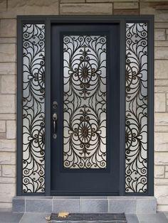 Modern House Designs Flat Top Grill Iron Glass Exterior Entry Door ...