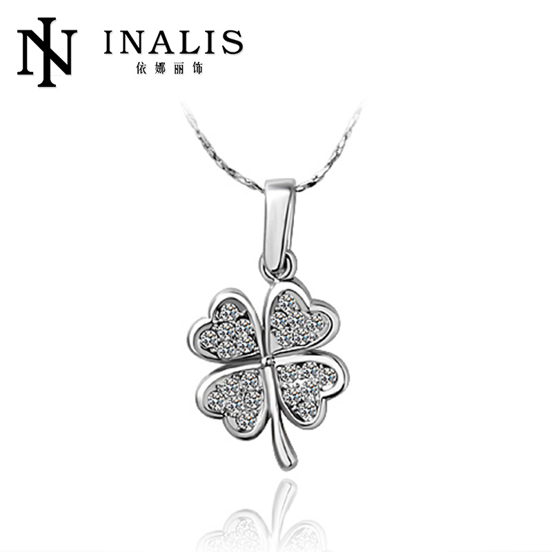 Fashion four clover white gold plated gifts for old ladies N015