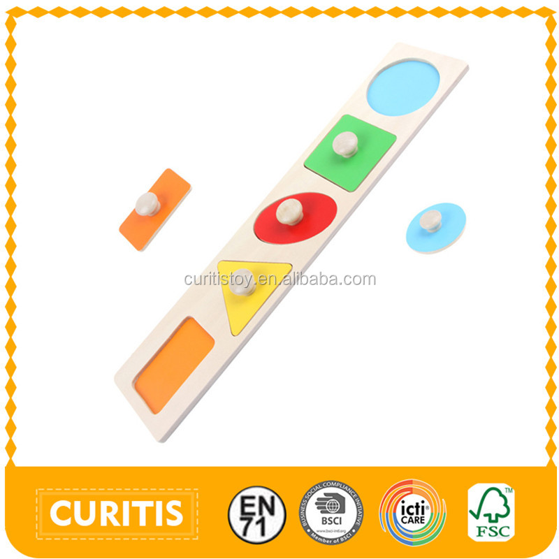 Yiwu factory directly sale different wooden shape bigger size wood knob kids toys colour montessori shapes recognition puzzle