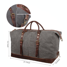 High Quality Waterproof Mens Travel Bag Tote Bag Leather Handle Canvas Duffle Bag