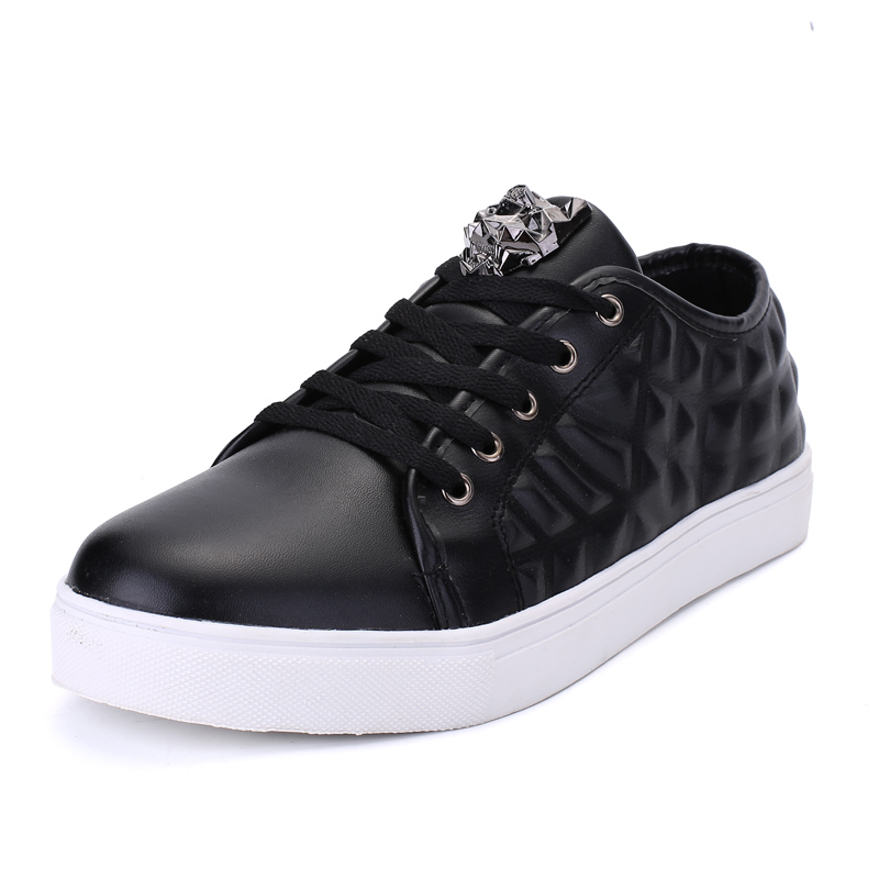 fashion model <strong>mens</strong> casual black skate walking shoes,cheap pu upper leisure shoes