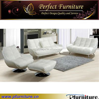 PFS31358 pure white Italian leather sofa manufacturers with stainless steel feet