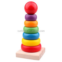 best business ideas preschool school kids colorful products pine wood Rainbow Tower montessori math set educational toys wooden
