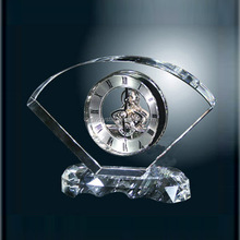 Wholesale fan shape crystal skeleton clock, office desk mechanical clock for business souvenir gift