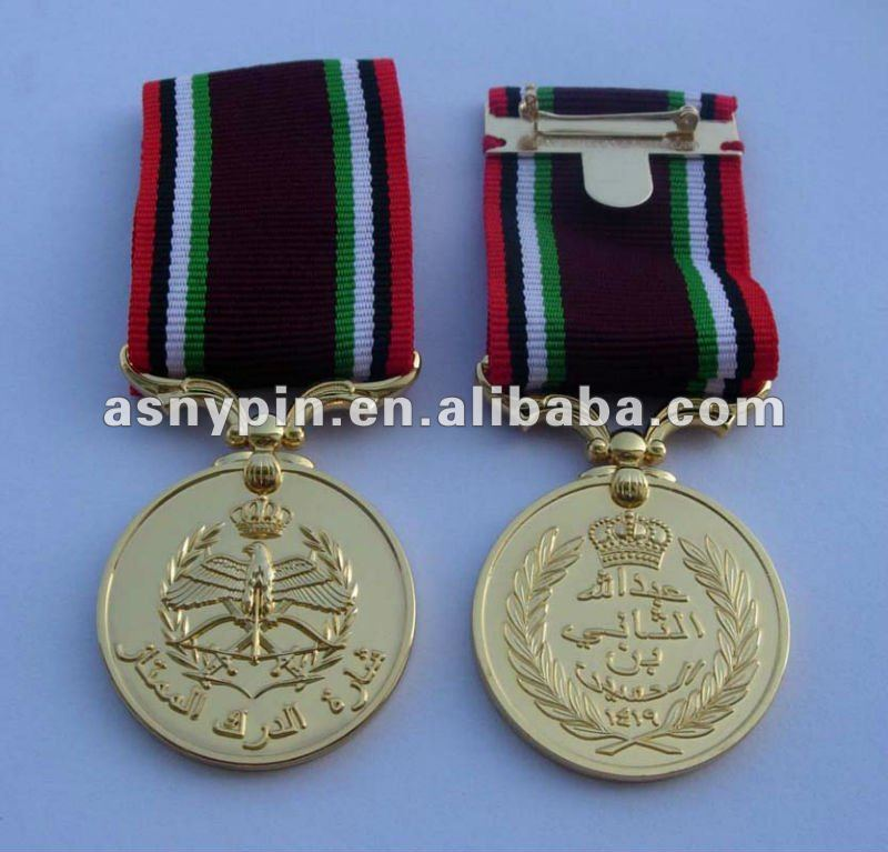 gold medal with ribbon tap & metal ribbon medal badge