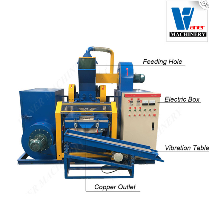 High efficiency copper wire granulator machine/scrap cable wire recycling equipment price