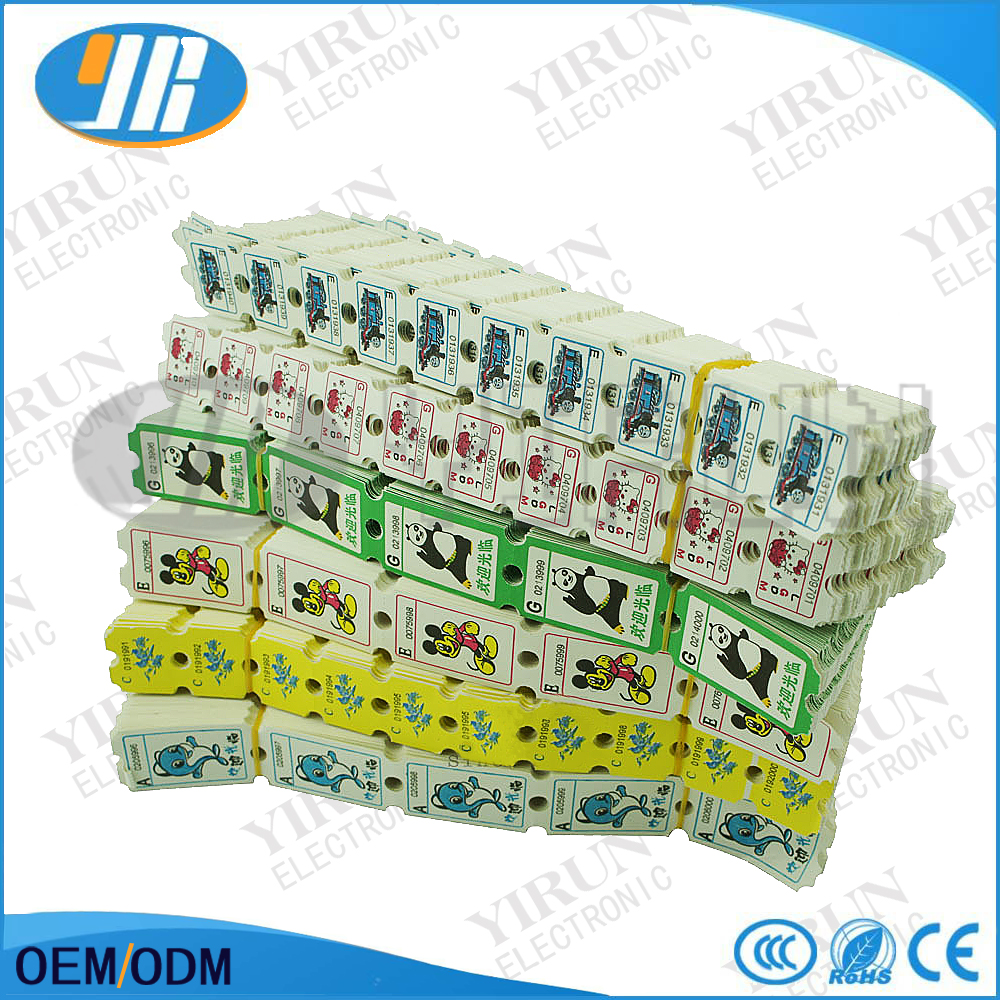 Good quality redemption tickets for arcade game cartong lottery tickets/game machine