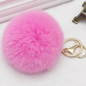 Cute Faux Rabbit Fur Ball Pompom Keychain Women Fluffy Pompon Owl Key Chain Holder Pom Pom Toy Doll Keyring Bag Charms Trinket