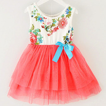 Summer New Floral Baby Dress Princess Dress 8 Colors Infant Kids Clothing With Bow