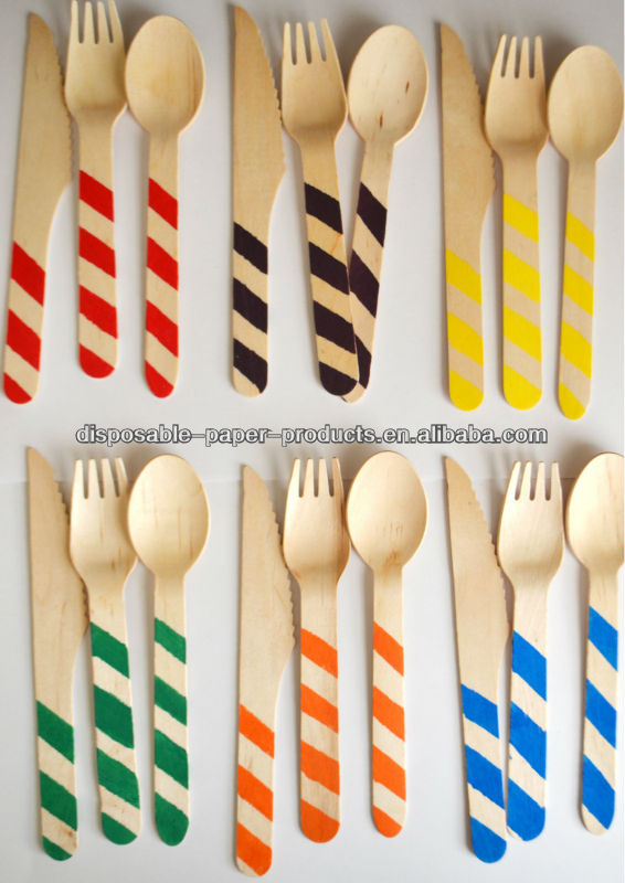 eco-friendly decorated wooden utensils Stripe Rainbow colored Wooden Cutlery in red, orange, yellow, green, blue, purple