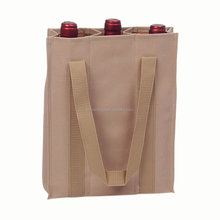 Durable Foldable Polyester 3 Bottle Wine Bag with Handles