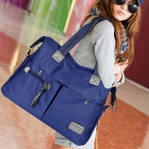 Big nylon unisex college student long handle multi pocket shoulder strap school bag
