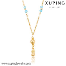 43199 Xuping new designed artificial gold plated long chain imitation necklace