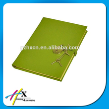 Wholesale pure color leather cover notebook with key and lock